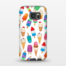 Galaxy S7  Summer Pops and Ice Cream Dreams on White by Micklyn Le Feuvre