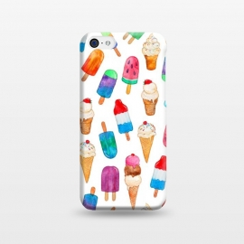 iPhone 5C  Summer Pops and Ice Cream Dreams on White by Micklyn Le Feuvre