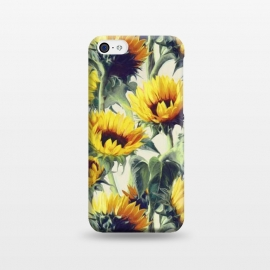 iPhone 5C  Sunflowers Forever by Micklyn Le Feuvre (sunflower,pattern,painting,summer,golden,floral,flowers,leaf,leaves,nature,micklyn,sunny,bright,retro,petals,yellow,mustard,sunflowers)
