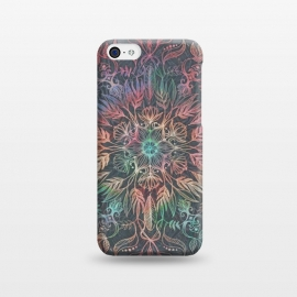 iPhone 5C  Winter Sunset Mandala in Charcoal, Mint and Melon by Micklyn Le Feuvre (rainbow,mandala,medallion,leaves,feathers,boho,micklyn,bohemian,grey,peach,winter,drawing,pencil,doodle,lotus,flowers)