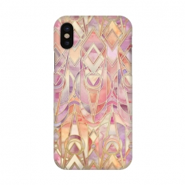 iPhone X  Glowing Coral and Amethyst Art Deco Pattern by  (watercolor,patterns,micklyn,art deco,art nouveau,geometric,peach,cream,golden,lavender,lilac,gilded,tiles,circles,diamonds,triangle,shapes,painting,contemporary)