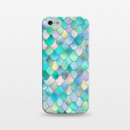 iPhone 5/5E/5s  Teal and Green Wonky Metal Mermaid Scales by Utart