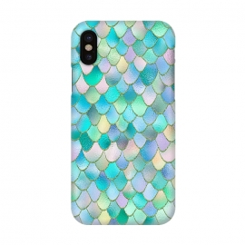 iPhone X  Teal and Green Wonky Metal Mermaid Scales by Utart