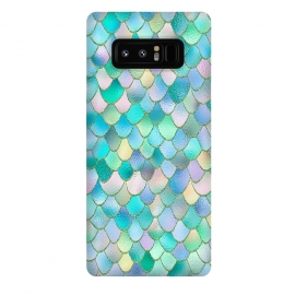 Galaxy Note 8  Teal and Green Wonky Metal Mermaid Scales by Utart
