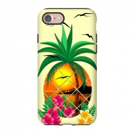 iPhone 8/7  Pineapple Tropical Sunset, Palm Tree and Flowers by BluedarkArt
