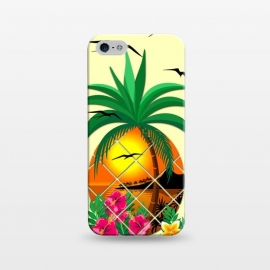 iPhone 5/5E/5s  Pineapple Tropical Sunset, Palm Tree and Flowers by BluedarkArt
