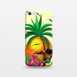 iPhone 5C  Pineapple Tropical Sunset, Palm Tree and Flowers by BluedarkArt