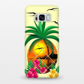 Galaxy S8+  Pineapple Tropical Sunset, Palm Tree and Flowers by BluedarkArt