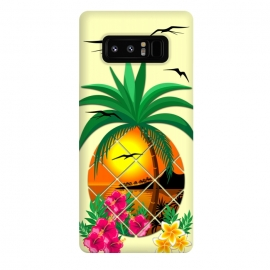 Galaxy Note 8  Pineapple Tropical Sunset, Palm Tree and Flowers by BluedarkArt