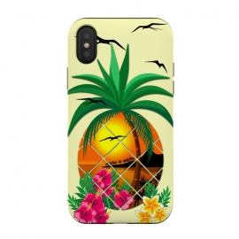 Pineapple Tropical Sunset, Palm Tree and Flowers by BluedarkArt