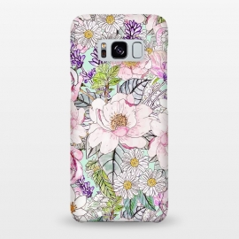Galaxy S8+  Watercolor garden peonies floral hand paint  by InovArts