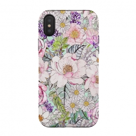 iPhone Xs / X  Watercolor garden peonies floral hand paint  by InovArts (Watercolor peonies,paint,garden floral,hand paint,romantic,chic,flower,hand drawn,design,blush,mint,elegance,vibrance,roses,daisies,lavender,rain flowers,foliage,beautiful,summer,original art,glamorous,feminine,Pink,yellow,violet,green,orange,grey,black,white)