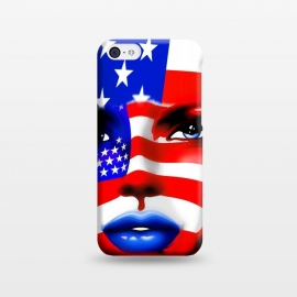 iPhone 5C  Usa Flag on Beatiful Girl's Face by BluedarkArt