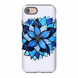 iPhone 8/7  Beautiful Abstract Hand Drawn Zentangle Blue Flower by Boriana Giormova
