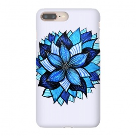 iPhone 8/7 plus  Beautiful Abstract Hand Drawn Zentangle Blue Flower by