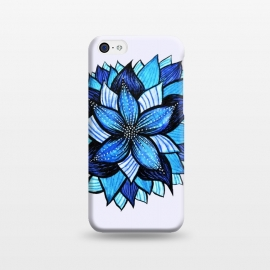 iPhone 5C  Beautiful Abstract Hand Drawn Zentangle Blue Flower by Boriana Giormova