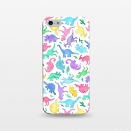 iPhone 5/5E/5s  Ditsy Dinos in Bright Pastels on White by Micklyn Le Feuvre (dinosaur, dinosaurs,dino,watercolor,painting,micklyn,cute,ditsy,rainbow,colors,watercolour,aqua,magenta,bright,colorful,fun,kids)