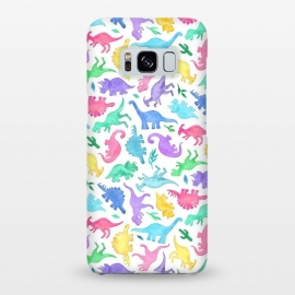 Galaxy S8+  Ditsy Dinos in Bright Pastels on White by Micklyn Le Feuvre (dinosaur, dinosaurs,dino,watercolor,painting,micklyn,cute,ditsy,rainbow,colors,watercolour,aqua,magenta,bright,colorful,fun,kids)