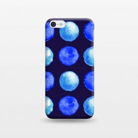 Winter Blue Watercolor Large Dots Pattern by Boriana Giormova