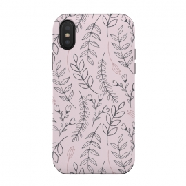 iPhone Xs / X  Pink Leaves & Flowers by