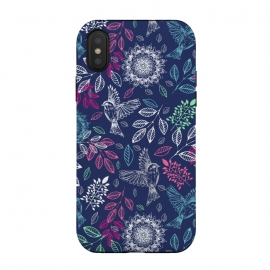 iPhone Xs / X  Fly Away by Rose Halsey (birds,nature,fly,floral,flowers,pink,pretty,laeaves,leaf,boho,mandala)