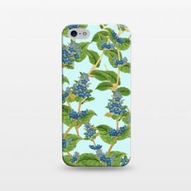 iPhone 5/5E/5s  Wisteria by Uma Prabhakar Gokhale (graphic, acrylic, pattern, floral, wisteria, blue, purple, exotic nature, botanical, flowers, blossom, bloom, golden, gold)