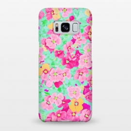 Galaxy S8+  Oh Darling by Uma Prabhakar Gokhale (graphic, pattern, digital manipulation paint filter, paint effect, floral, blossom, bloom, nature, botanical, flowers, gold, pink, green, bright, yellow)
