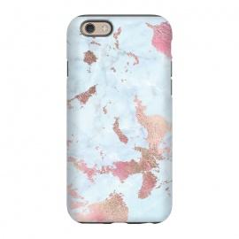 iPhone 6/6s  Rose Gold Metal Foil on Light Blue Marble by Utart