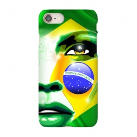 iPhone 8/7  Brazil Flag Colors on Beautiful Girl Portrait by BluedarkArt