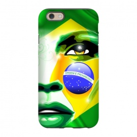 iPhone 6/6s  Brazil Flag Colors on Beautiful Girl Portrait by BluedarkArt