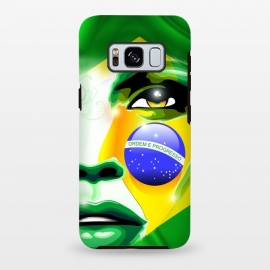 Galaxy S8 plus  Brazil Flag Colors on Beautiful Girl Portrait by