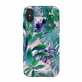 Pastel Summer Tropical Jungle by Micklyn Le Feuvre (jungle,tropical,monstera,summer,pastels,micklyn,pattern,painted,painting,acrylic,leaves,leaf,green,botanical,plants,plant,nature,pink,magenta,bright,colorful)