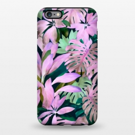 iPhone 6/6s plus  Tropical Night Magenta Jungle by Micklyn Le Feuvre (purple,magenta,monstera,leaves,jungle,tropical,micklyn,garden,nature,painted,painting,acrylic,mint green,botanical,overgrown,lush,leaf)
