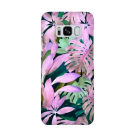 Tropical Night Magenta Jungle by Micklyn Le Feuvre (purple,magenta,monstera,leaves,jungle,tropical,micklyn,garden,nature,painted,painting,acrylic,mint green,botanical,overgrown,lush,leaf)