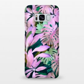 Galaxy S8+  Tropical Night Magenta Jungle by Micklyn Le Feuvre (purple,magenta,monstera,leaves,jungle,tropical,micklyn,garden,nature,painted,painting,acrylic,mint green,botanical,overgrown,lush,leaf)