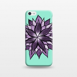 iPhone 5C  Purple Mandala Like Ink Drawn Abstract Flower by Boriana Giormova