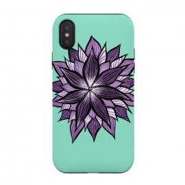 iPhone Xs / X  Purple Mandala Like Ink Drawn Abstract Flower by
