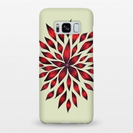 Galaxy S8+  Hand Drawn Abstract Red Ink Doodle Flower by Boriana Giormova