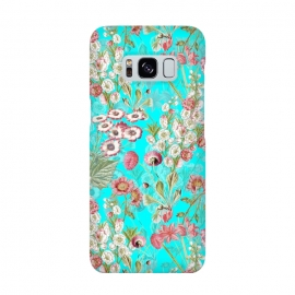 Galaxy S8  White & Pink Flowers on Teal by Utart