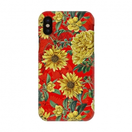 iPhone X  Sunflowers and Roses on Red by Utart
