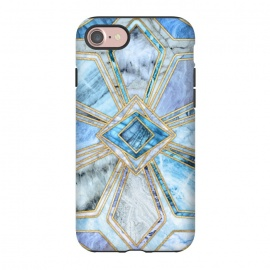 iPhone 8/7  Geometric Gilded Stone Tiles in Soft Blues by Micklyn Le Feuvre