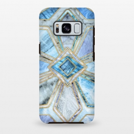 Galaxy S8 plus  Geometric Gilded Stone Tiles in Soft Blues by  (blue,amethyst,marble,gold,tiles,geometric,micklyn,diamond,square,shapes,stone,quartz,rock,pattern,texture,yellow,golden,gilded)