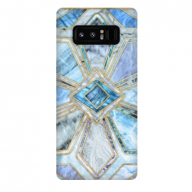 Galaxy Note 8  Geometric Gilded Stone Tiles in Soft Blues by Micklyn Le Feuvre