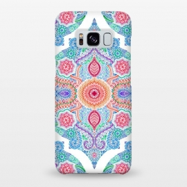 Galaxy S8+  Ink and Symmetry in Rainbow Brights by Micklyn Le Feuvre (doodle,moroccan,patterns,rainbow,red,orange,green,white,blue,detailed,micklyn,radiant,linework,tangle,colorful)
