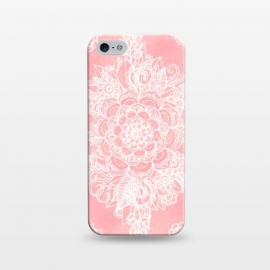 iPhone 5/5E/5s  Marshmallow Lace by Micklyn Le Feuvre (pink,blush,salmon,rose,dusky,doodle,mandala,medallion,micklyn,painting,painted,texture,plants,flower,floral,moroccan,linework,pink and white,girly)