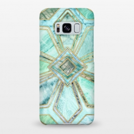 Galaxy S8+  Geometric Gilded Stone Tiles in Mint and Jade Green by Micklyn Le Feuvre
