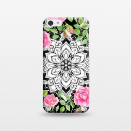 iPhone 5C  Peach Pink Roses and Mandalas on Black and White Lace by Micklyn Le Feuvre (mandala,roses,watercolor,watercolour,floral,illustration,pink,flower,rose,medallion,micklyn,pattern,leaves,nature,girly,decorative,detailed,petals,painting,painted)