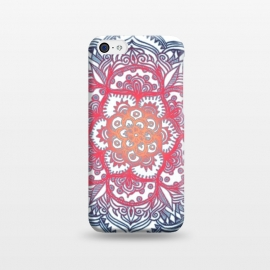 iPhone 5C  Radiant Medallion Doodle by Micklyn Le Feuvre (flower,floral,mandala,medallion,red white and blue,micklyn,doodle,pattern,dots,diamonds,radiant,gradiant,colorful)
