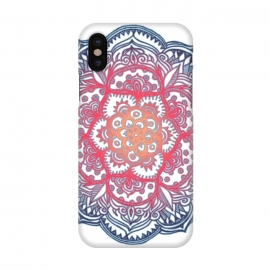 iPhone X  Radiant Medallion Doodle by Micklyn Le Feuvre (flower,floral,mandala,medallion,red white and blue,micklyn,doodle,pattern,dots,diamonds,radiant,gradiant,colorful)