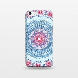 iPhone 5C  Red, White and Blue Floral Mandala by Micklyn Le Feuvre (medallion,mandala,boho,bohemian,drawing,doodle,micklyn,red,white,blue,flowers,pencil,circle,circles,patterns)